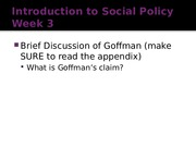 Introduction to Social Policy Week 3