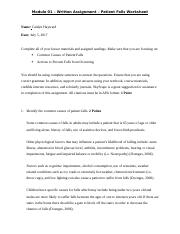 Module 1 Written Assignment - Patient Falls Worksheet.docx