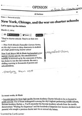 note new york, Chicago,  and the war on charter schools