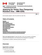 Applying for Visitor Visa (Temporary Resident Visa – IMM