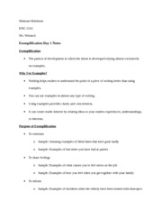 eng exemplification notes o sample examples of fun  eng 1510 exemplification 1 notes o sample examples of fun times you have had at parties • to share feelings o sample examples of what causes you