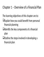 Chapter 1 – Overview of a Financial Plan