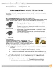 student exploration rainfall and bird beaks answer key pdf