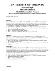 MGFC10_Review Prolems with Solutions on  Capital Structure Policy