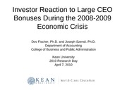 Large CEO Bonuses during the 2008-2009 Economic Crisis