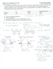 Chapter 12 Extra Problems Solutions