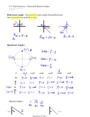 5.3 Trig Function − General & Special Angles