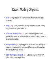 Report Marking 50 points