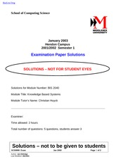 Examination Spring 2003 Solution on Knowledge Based Systems for Business