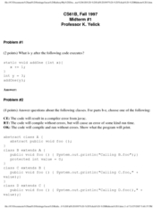 Computer Science 61B - Fall 1997 - Yelick - Midterm 1