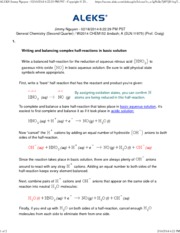 Writing and balancing complex half-reactions in basic solution2