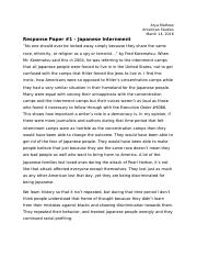 Response Paper 1 Japanese Internment
