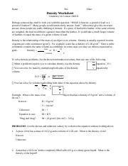 Density Worksheet 1 Docx Name Per Date Density Worksheet Chemistry In Context 2008 9 Perhaps Someone Has Tried To Trick You With This Question Course Hero