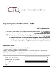 Programming 2 Formative Assessment 1 (Part 2)