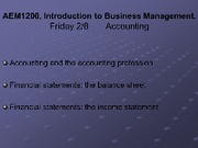 Lecture Friday 28 - Accounting