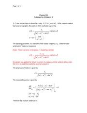 PHYS 321 Fall 2010 Midterm 2 Solutions