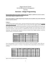 Recitation: Integer Programming (Exercises & Answers) - Operation Management 2016