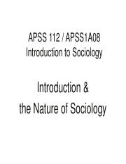 Introduction nature of sociology