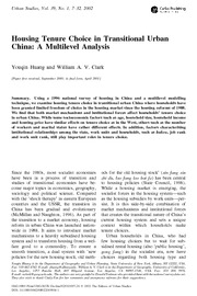 Housing Tenure Choice in Transitional Urban China