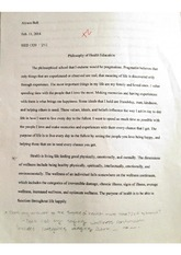 Philosophy of Health Education Essay