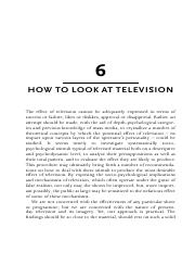 Reading adorno_how to look at tv