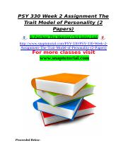 PSY 330 Week 2 Assignment The Trait Model of Personality (2 Papers).doc
