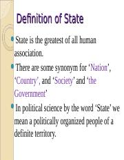 state ppt - Definition of State State is the greatest of all