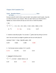 Axia Math 115 Cumulative Test Chapters 3 and 4