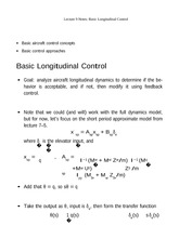 Lecture 9 Notes Basic Longitudinal Control
