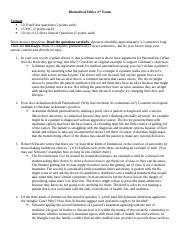 Bioethics Exam 2 Study Guide (1) docx - Biomedical Ethics