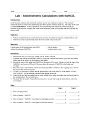 Lab - Stoichiometric Calculations