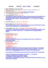 MATH 140 Spring 2014 Quiz 8 Solutions