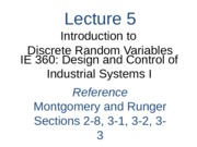 Lecture 5 Ch 3 Introduction to Discrete RVs