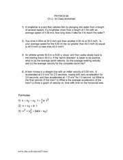 Physics 6A Ch2Worksheet