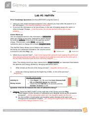 Lab 6--Half-life Gizmo.docx - Name Date Lab#6 Half-life ...