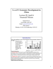 ECON 455 Lecture 22 Financial Threats