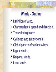 Winds and the global circulation system