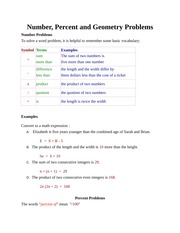 Number, Percent, and Geometry Problems