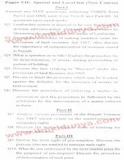 Past Papers 2013 LLB Part 2 Special and Local Laws Paper 7