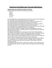 Empirical and Molecular Formula - molecular formula of the compound ...