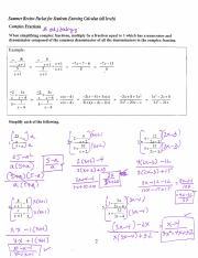 AB Calculus Summer Packet Answer Key 2014
