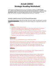 Learning Exercise Assignment for Arnett - Strategic Reading .docx