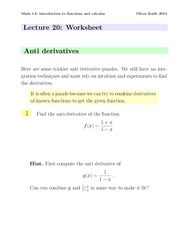 Math1a Spring 2014 Lecture 20 Worksheet