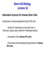 SCB Lecture 18 2016 Induced pluripotent stem cells