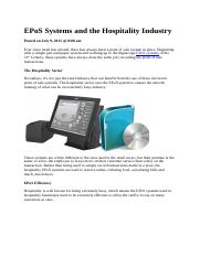 EPoS Systems and the Hospitality Industry.docx