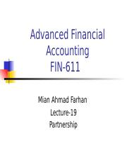 Advanced Financial Accounting - FIN611 Power Point Slides Lecture 01