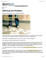 Article 1 Defining the Problem