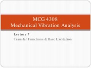 Lecture 7 Transfer Functions for Mechanical vibration analysis