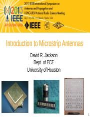 Lecture on Microstrip Antennas