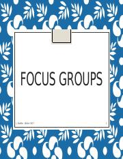 Lecture 7- Focus Groups